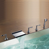 Modern Design Chrome Finish Contemporary Rectangular Waterfall Tub Faucet With Handshower--faucetsuperdeal.com Image
