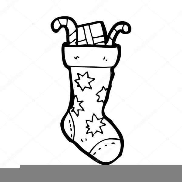 Christmas Stocking Clipart Black And White