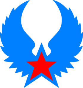 Red Star Blue Wings Clip Art