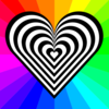 Stripped Heart Clip Art