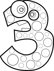 Animal Number Three Lineart Clip Art