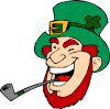 Laughing Man Smoking Pipe Clip Art