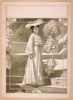 [full Length Image Of Woman, Standing On Steps, Wearing Hat And Long Dress, Holding Parasol]  Image