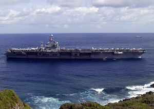 The Aircraft Carrier Uss Carl Vinson (cvn 70) Enters Apra Harbor During Its First Ever Port Call To Guam Image