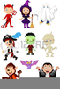 Kids In Halloween Costumes Clipart Image