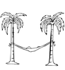 Palm Tree And Hammock Clipart Image