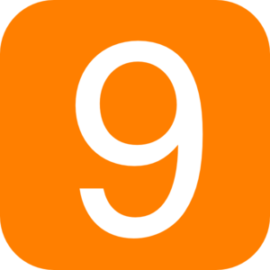 Orange, Rounded, Square With Number 9 Clip Art