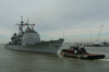 The Guided Missile Cruiser Uss Leyte Gulf (cg 55), Departs Norfolk Naval Base. Image