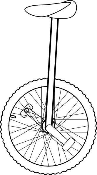 Line Art Unicycle : Unicycle clipart black and white