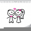 Cartoon Stick Wedding Characters Clipart Image