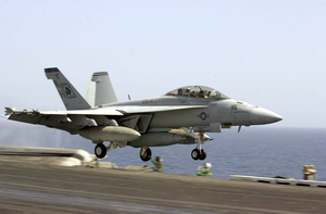An F/a-18f Super Hornet Launches Off From One Of Four Steam Powered Catapults On The Flight Deck Aboard Uss Nimitz (cvn 68). Image
