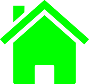 Simple Neon Green House Clip Art