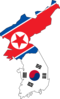 North South Korea Flag Map Clip Art