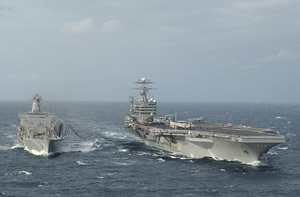Uss George Washington (cvn 73) Conducts A Replenishment At Sea With Usns Kanawha (t-ao 196) In The Atlantic Ocean Image