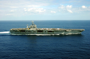 Aerial View Of The Nuclear Powered Aircraft Carrier Uss Harry S. Truman (cvn 75) Underway During Carrier Qualifications And Flight Deck Certification. Image