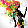Colorful Floral Girl Silhouette Image