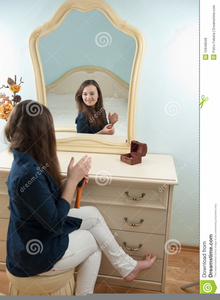 Woman Looking In Mirror Clipart Image