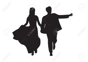 Bride And Groom Outline Clipart Image