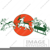 Santa With Reindeer Clipart Image