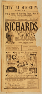 Richards, The World S Greatest Magician And His Big Company The Biggest Stage Show Of The Entire Season. Image