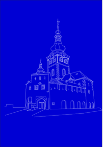 Blue Castle Outline Clip Art