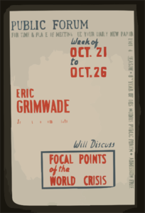 Public Forum - Eric Grimwade, Journalist And Commentator, Will Discuss Focal Points Of The World Crisis  / Designed & Made By Iowa Art Program, W.p.a. Clip Art