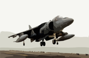 A Marine Av-8b Harrier Makes A Vertical Landing Aboard The Amphibious Assault Ship Uss Bonhomme Richard (lhd 6). Clip Art