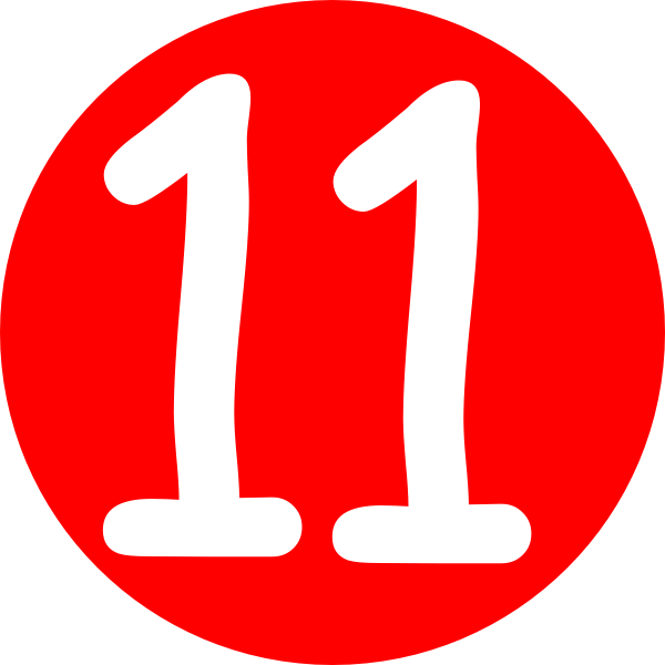 Red, Rounded,with Number 11 Clip Art at Clker.com - vector ... |Number Eleven Clipart