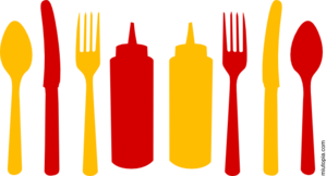 Orange And Red Utensils And Ketchup Mustard Bottles Clip Art