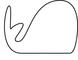 Skinny Outline Whale Clip Art