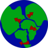 Earth With Continents Breaking Up Clip Art