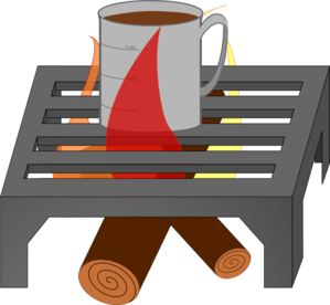 Coffee Cup Over Fire Grate Clip Art