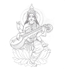 Saraswati Sketch By Coconutpocky Image