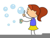 Kids Blowing Bubbles Clipart Image