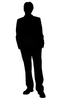 Business Man Standing Silhouette In Black And White Image