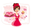 Saleswoman Serving Chocolate Cakes Image