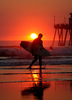 Surfing At Sunset Image