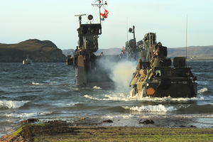 French Marine Vab Takes The Beach During A Non-combatant Evacuation Operation (neo) Exercise Image