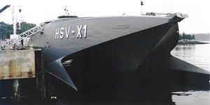 The Bow Of The Experimental High-speed Catamaran, Hsv-x1 Joint Venture, Juts Out From Behind Fenick Pier Image