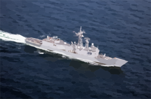 N Aerial View Of The U.s. Navy Guided Missile Frigate Uss Rueben James (ffg 57). Clip Art