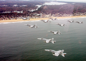 Vfa-81 And Cvw-17 Approach The Virginia Beach Ocean Front As They Return To Naval Air Station Oceana Image