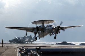 E-2c Hawkeye Launches From Uss Kitty Hawk. Image