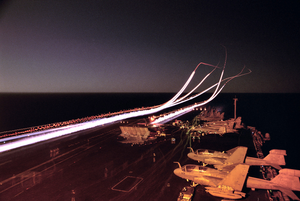 Flight Operations At Night Aboard Cvn 74 Image