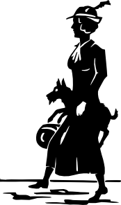Lady Walking Dog Clip Art