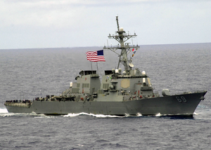 The Guided Missile Destroyer Uss Milius (ddg 69) Proudly Displays Her Large American Flag During A Practice Sea Power Demonstration For Uss Constellation Image