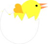Yellow Chick In Cracked Eggshell Clip Art