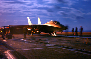 An F-14b Tomcat Launches From One Of Four Steam Driven Catapults On The Flight Deck Of Uss Harry S. Truman (cvn 75). Image