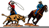 Free Team Roping Clipart Image
