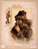 [half Length Image Of Bearded Tramp In Hat, Touching Finger To Nose With Full Length Image Of Same Tramp To The Left] Image
