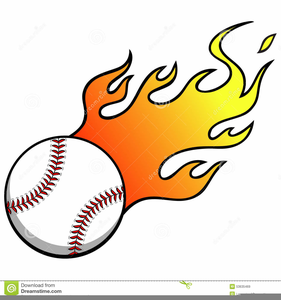 Softball With Flames Clipart Image